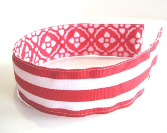 Preppy REVERSIBLE Ribbon Headband- Red White Damask Stripes Grosgrain Ribbon, Striped Headband, Girl or Adult Headband, Party Favor