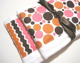 Baby Babies Burp Cloth Set- Burp Rags-Cute Pink Orange Brown Polka Dots, Shower Gift, For Feeding Nursing Cloths, Matching Bib