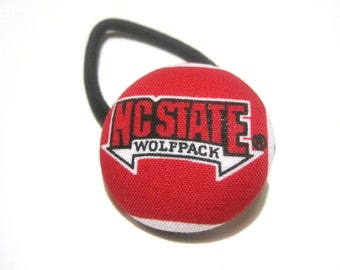 Cute Ponytail Holder made with NC State Wolfpack Fabric, Red White Black