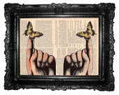 Hands and butterflies - ORIGINAL ARTWORK butterfly art print- Mixed Media -HAND Painted, print  book page