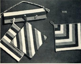 1940's Crochet Pot Holder Pattern with Matching Rack