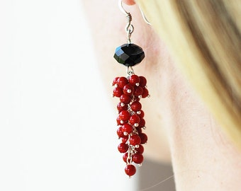 Red coral earrings, red earrings, gift for her