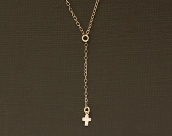 Delicate Rosary Necklace with Tiny Cross Charm