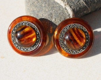 Vintage Earth earrings Marcasite and tiger eye celluloid 1950s jewelry
