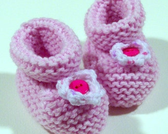 Light Pink Knitted Baby Booties