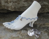 Baby blue and clear glass beaded barefoot sandal.