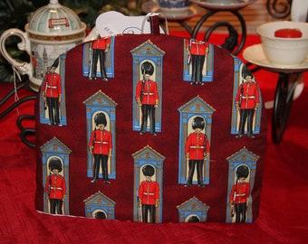 English Tea Cosy, English Queens Guard Teapot Cozy, Teapot Warmer, Tea Party, Tea Warmer, London Scene Red Cozy, English Fabric