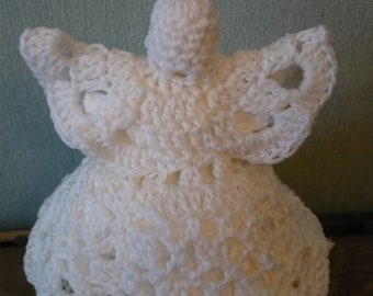 Crocheted angel christmas tree decoration peak