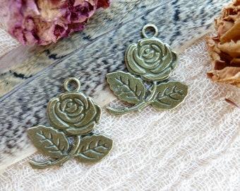 SALE 2x Vintage Rose Charms, Antique Brass Pendants C114