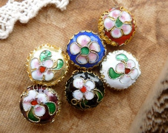 6x Enamel Bead Charms Mix Colour, Supplies, Jewelery Making P75