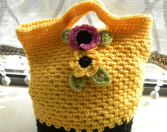 Cute Handmade Girl Yellow Black Flower Crochet Tote  Handbag