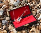 Wooden Red Washburn guitar necklace, Dolls house minature, christmas