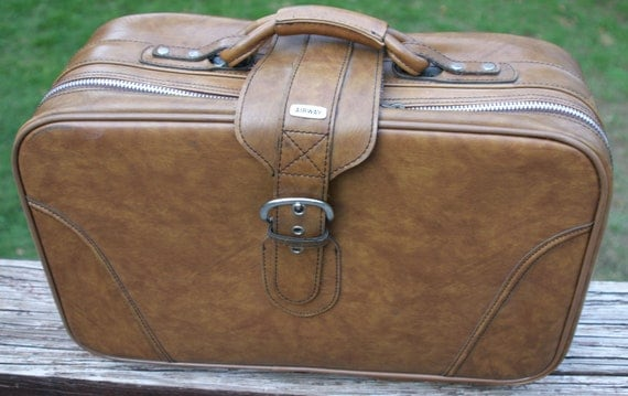 Vintage 1960s Luggage Airway Brand Suitcase / Vintage Luggage