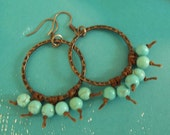 Turquoise Magnesite Antique Copper 30mm Hammered Link Earrings, Bohemian Style
