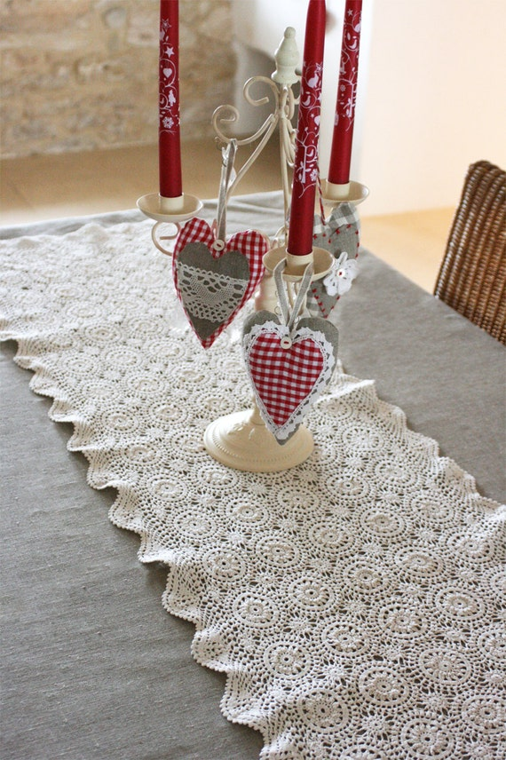 french vintage crocheted table runner