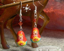 Dangling earrings Russian dolls - matriochka - Mother's day