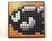 Bullet Bill from Super Mario World, a bright and shiny glass gamer's mosaic