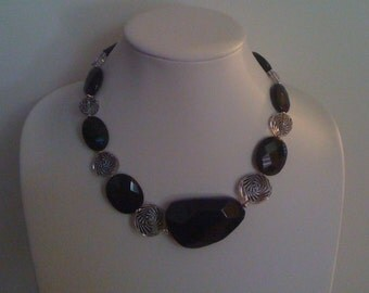 Necklace - Black Onyx and Swarovski Zebra Elements