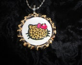 Hello Kitty Pendant Cheetah Bottle cap Necklace with Rhinestone