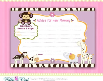 CoCaLo Jacana Jungle Girl Baby Card, Guess weight and date, advice card for new Mommy Printable DIY  - ONLY digital file - you print