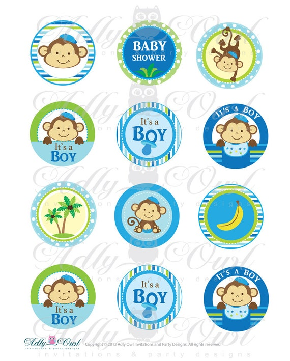 It S A Boy Monkeys Cupcake Toppers Or Favor Tags