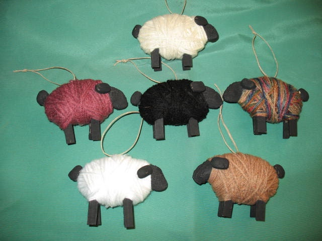 Image gallery sheep ornaments for Sheep christmas ornament craft