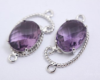 S069- 20PCS - Rhodium plated -Amethyst -Glass