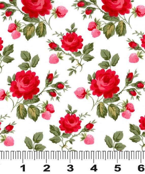 Fabric Rosie Two Step Red Pink Design Lakehouse Lake House Dry Goods 1/2 yard