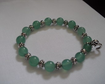 Green jade gemstone bracelet