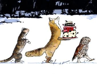 Cat, Fox & Owl in Winter Birthday Card