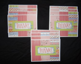 Handmade Thank You Cards, Greeting Cards, Thanks - Set of 12