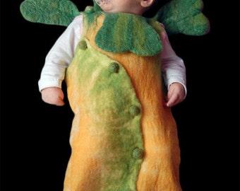 "Merino wool baby sleeping bag 'Lucky clover"", hand made unique design eco friendly baby sleeping bag"