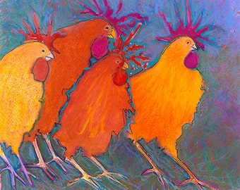 Chicken art making a break for it colorful funky whimsical