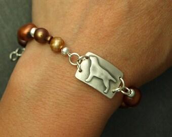 Fine Silver Labrador Retriever Freshwater Pearl Bracelet