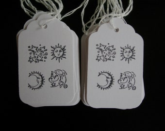 Celestial Hang Tag Gift Tag Craft supply Sun Moon & Stars Black and White 25 tags medium