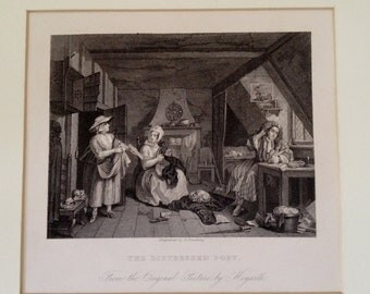 "Hogarth ""The Distressed Poet"" 19th Century Matted Lithograph"