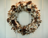 Fall Cotton and Pinecone Wreath - SweetlySouthernChic