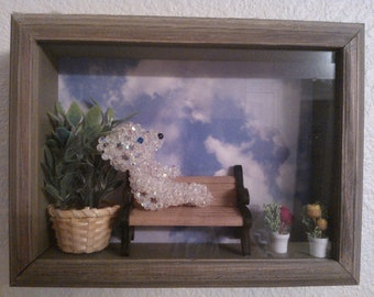 Cottage chic wall decor, austrian crystal beads bear in shadow box