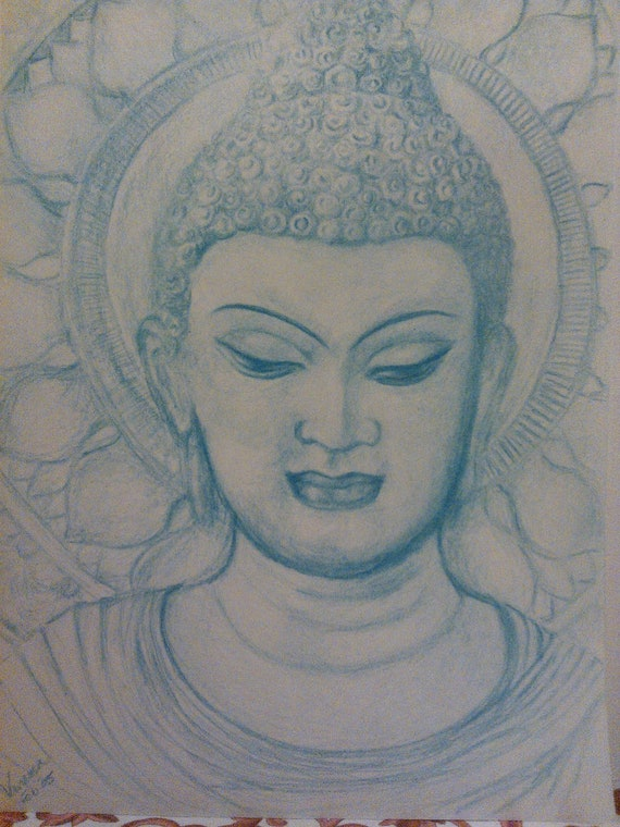 Japanese Anime Manga Style Color Pencil Drawing Buddha