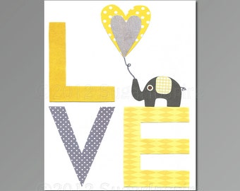 Nursery Art Print, Kids Room Decor, Baby / Children Wall Art - Love, Yellow and Grey, baby elephant
