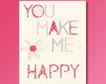 You make me happy, Nursery Art Print, 8x10, Kids Room Decor, Baby / Children Wall Art - Flower, Grey, Pink,  Quote