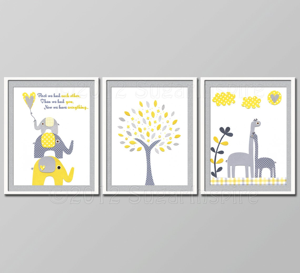 Yellow And Grey Nursery Decor Kids Room Decor Baby Children