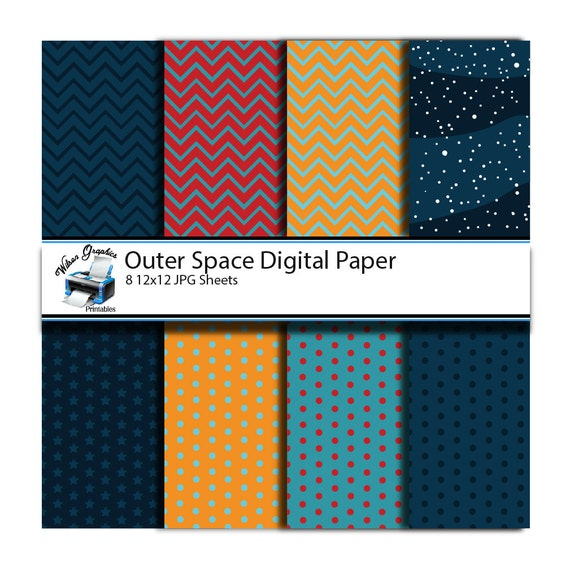 8 outer space scrapbooking paper sheets for print by