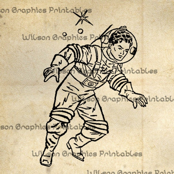 Vintage Astronaut Illustration - Pics about space