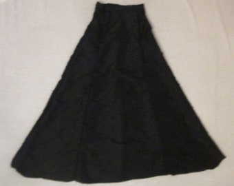 Floor length black taffeta skirt