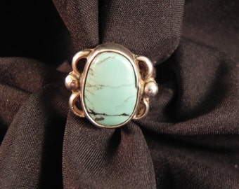 Vintage Ring Native American Blue Turquoise Black Matrix Setting sz5