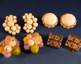 Vintage Lot Clip Earrings Four Pairs Marked Trifari Caviness West Germany