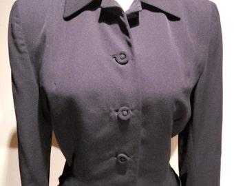 1940's Superior Forstmann Black Wool Worsted Jacket, c. 1940