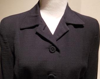 1940's Superior Forstmann Black Slub Worsted Wool Jacket, c. 1940