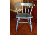 Distressed Upcycled Vintage Gray Blue Captains Chair... Worn and inviting